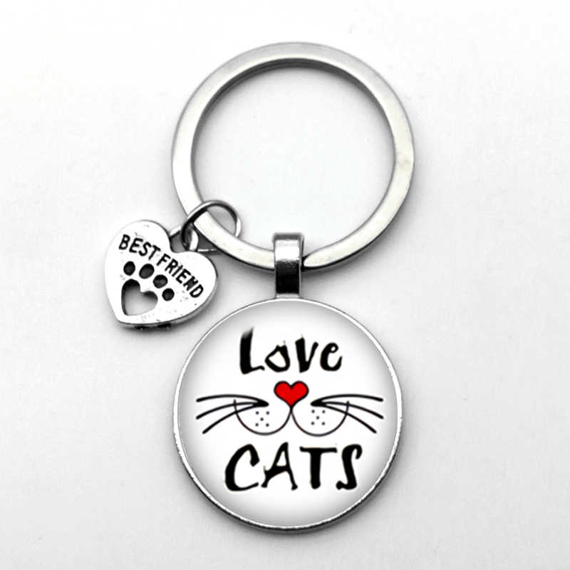 Sangat Lucu Hewan Peliharaan Kucing Gantungan Kunci Kucing Footprint Pola Gantungan Kunci Terbaik Teman Liontin Gantungan Kunci Kucing Favorit Penting Gantungan Kunci