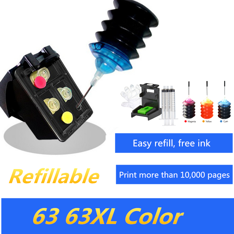Refillable Color Ink Cartridge Replacement For HP 63 63XL For ENVY4520/ Officejet4650 Ink Jet Printer
