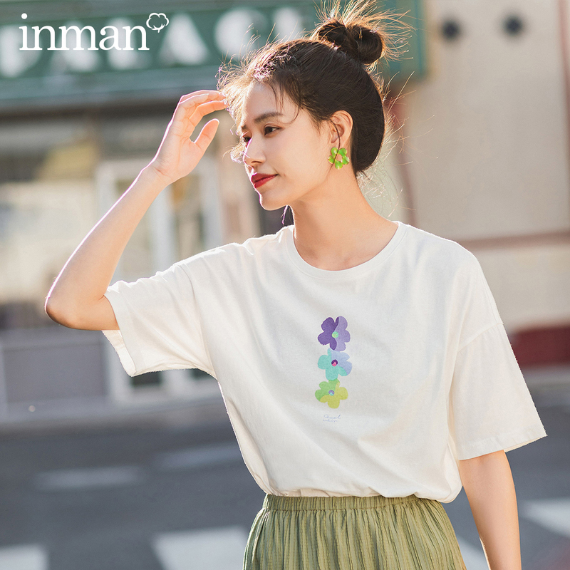 INMAN 2020 Summer New Arrival Literary Round Collar Graffiti Flower Pure Cotton Loose All-match Short Sleeve T-shirt