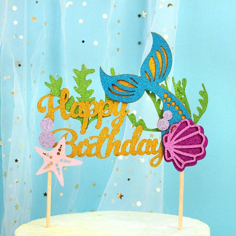 Meerjungfrau Kuchen Topper Meerjungfrau Party Cupcake Dekorationen Glücklich Geburtstag Meerjungfrau Schwanz Papier Tasse Kuchen Topper Liefert