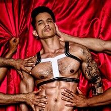 Черный белый мужской Эластичный плечевой ремень сексуальный фетиш Холтер шеи тела Грудь сценическая Клубная одежда выдалбливают связывание
