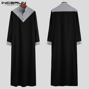 Image 4 - INCERUN Arabic Islamic Kaftan Muslim Men Stand Collar Patchwork Retro Jubba Thobe Long Sleeve Men Indian Clothes Robe S 5XL 2020