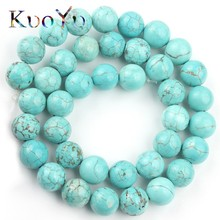 Natural Stone Blue Turquoises Howlite Beads Round Loose Spacer Bead For Jewelry Making Diy Bracelet Accessories 4/6/8/10/12/14mm 1strand lot 4 6 8 10 12 mm natural stone old blue sodalite round loose spacer beads for jewelry making diy bracelet wholesale