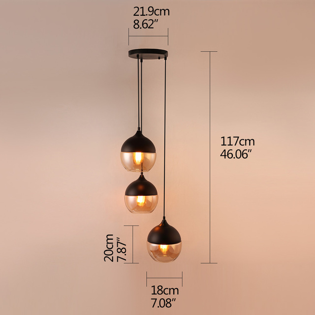 Modern Creative E27 LED Indoor Lighting Combination Hanging Lamps Bedroom Hall Living Room Loft Office Bar Glass Pendant Lights 2