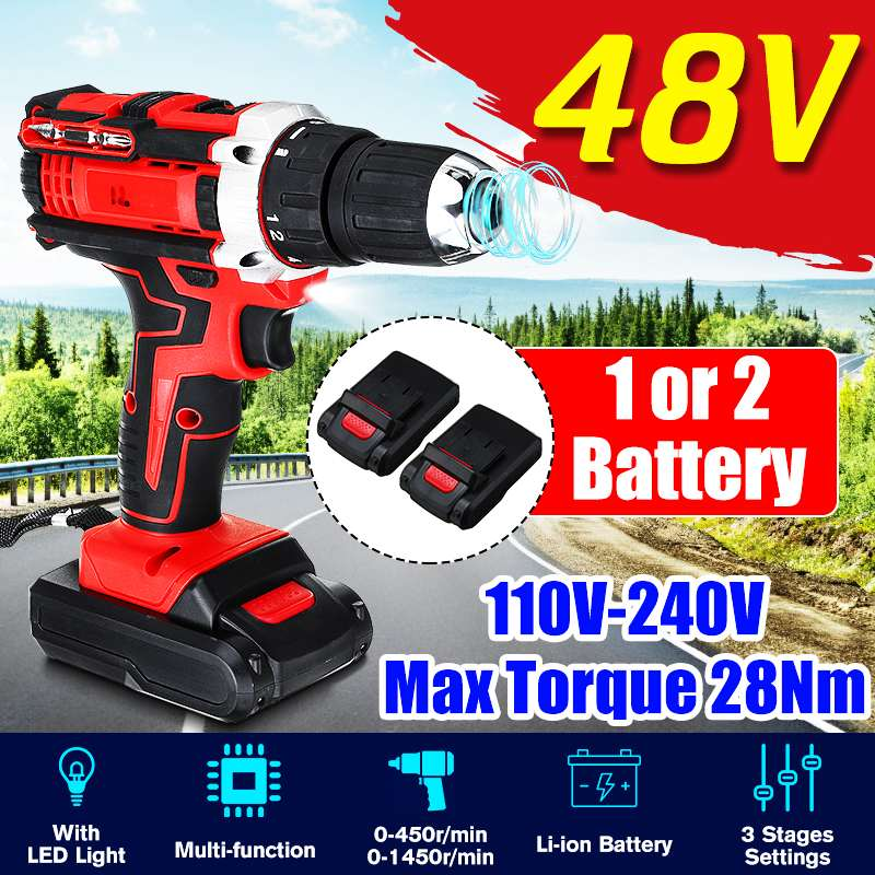 48V 25+3 Torque 2-Speed <font><b>Electric</b></font> <font><b>Screwdriver</b></font> <font><b>Cordless</b></font> <font><b>Drill</b></font> Rechargeable <font><b>Impact</b></font> <font><b>Drill</b></font> Power Driver+1/2pcs DC Lithium-Ion Battery image
