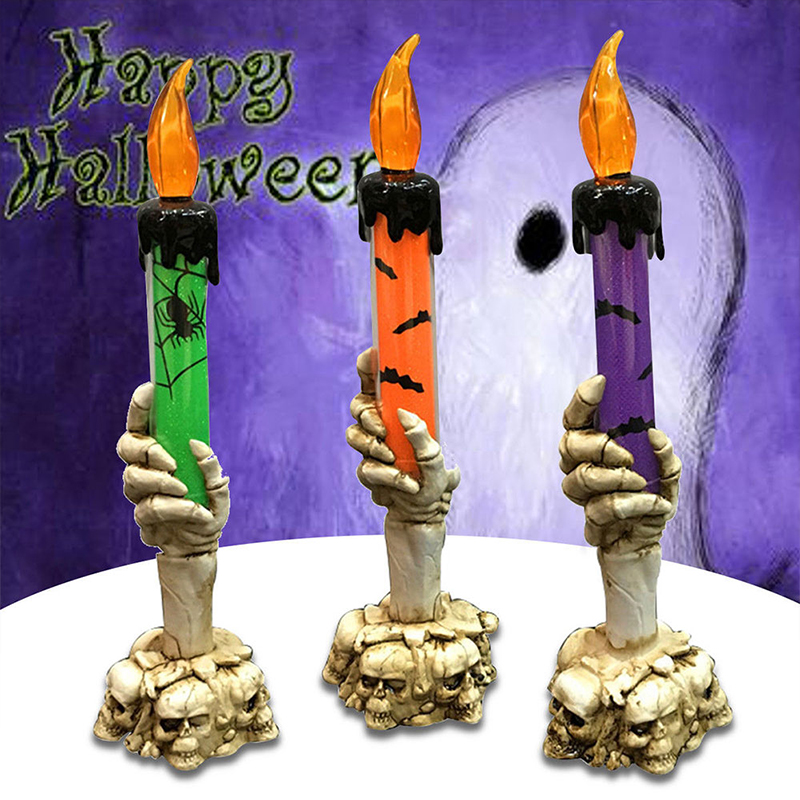 Candles Lamp LED Tealight Candles Light Home Battery Best Gift Romantic Creative Skull Skeletal Hand Halloween