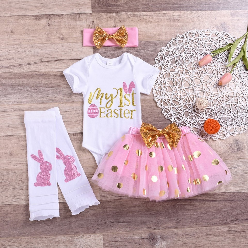 My First Easter Bunny Egg Baby Girl Romper Tutu Dress Headband Clothes Outfits