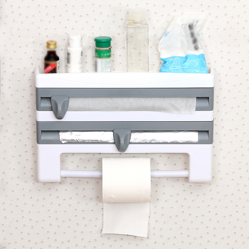 Kitchen Towel Paper Holder Aluminum Film Cutter Wraptastic Dispenser Cutting Foil Cling Wrap Kitchen Shelf Wall Hang Rack|Racks & Holders| |  - title=