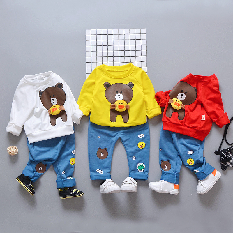 Clothes for Boys Girl Toddler Spring Fall Winter Baby Clothes Set Bear Long Sleeve Pants Kid Clothes Newborn 1 2 3 4 Year 2019 in Clothing Sets from Mother Kids
