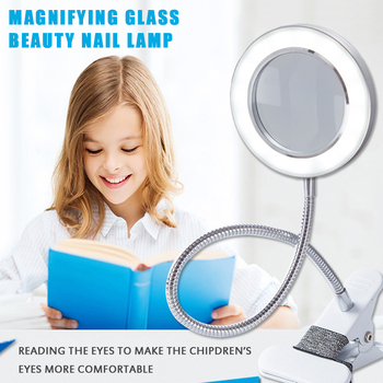 Multifunctional Table Lamp Magnifying Glass Lamp with Clip Desk, Lamp Eye Protection for Reading, Writing (Work From Home) and Useful for Beauty Makeup Propose Light Work From Home Accessories e607d9e6b78b13fd6f4f82: White