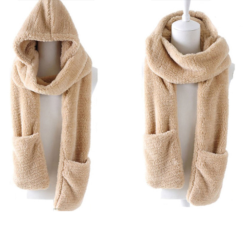Winter Warm Women Hoodie Gloves Pocket Earflap Hat Long Scarf Shawl Snood Wraps  Best Sale-WT