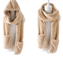 Winter Warm Women Hoodie Gloves Pocket Earflap Hat Long Scarf Shawl Snood