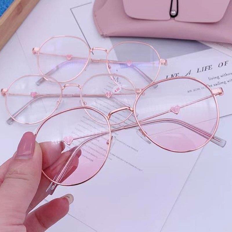 Cute Anti Blue Light Anti Blocking Filter Glasses Women Men Computer Goggles Optical Spectacle Rose Gold Myopia Degree Glasses