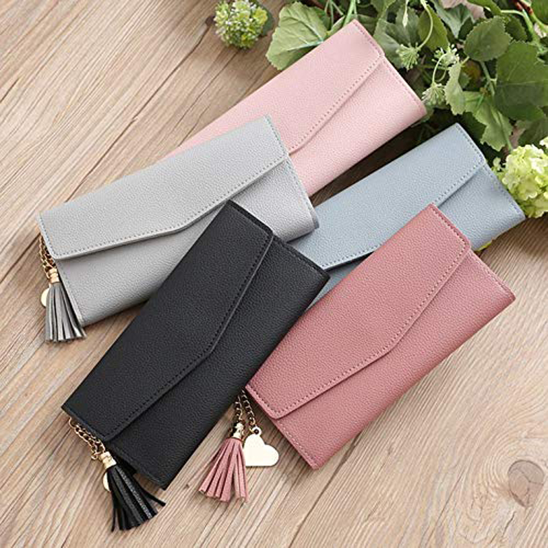 2020 Fashion Womens Wallets Simple Zipper Purses Black Purple Gray Red Long Section Clutch Wallet Soft PU Leather Money Bag