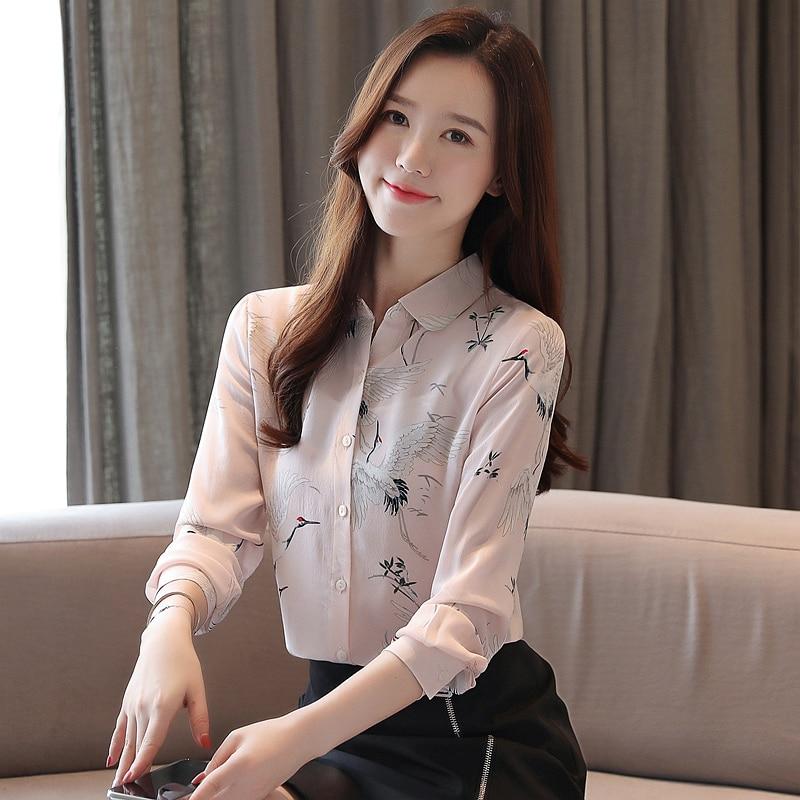 Korean Fashion Silk Women Blouses Turn-down Collar Pink Women Long Sleeve Shirts Plus Size XXL Blusas Femininas Elegante