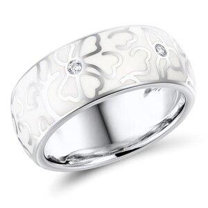 Кольцо с белым цветком, эмалированное классическое кольцо с лаком, женское элегантное ювелирное изделие ручной работы, модные аксессуары, п...