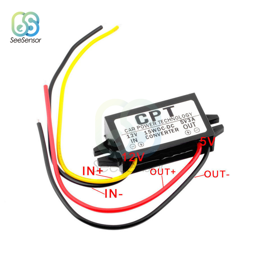 <font><b>DC</b></font>/<font><b>DC</b></font> 12V to 5V 3A 15W Car Power Buck <font><b>Converter</b></font> Regulator Step Down <font><b>Voltage</b></font> Power Supply Output Adapter Low Heat Auto Protection image