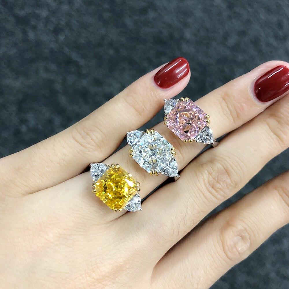 PANSYSEN pur 925 en argent sterling de luxe bague d'anniversaire de mariage avec 10MM créé moissanite pierre femme bijoux fins cadeau - 4