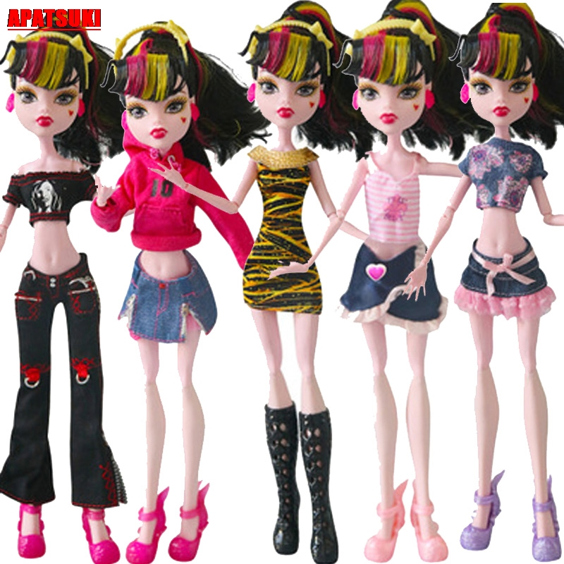 1pc Fashion Doll Clothes for Monster High Clothes for Bratz Doll Outfits Dresses Short Dress Long Pant 10 Style Doll Costume