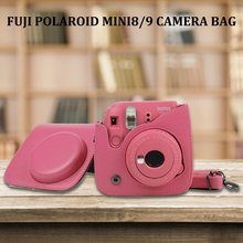 For Fujifilm Instax Mini 8 Mini 9 Camera PU Leather Color Bag Instax Mini case with Shoulder Strap Transparent Crystal Cover цена 2017