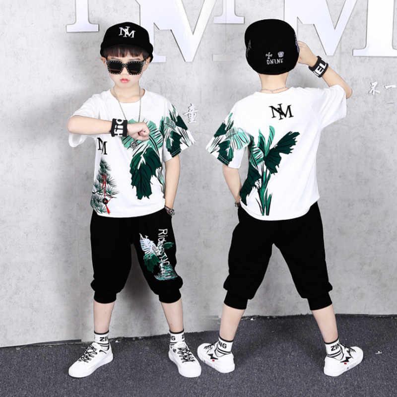 소년을위한 해변 바람 옷 세트 5 8 10 12 년 어린이 스포츠 짧은 소매 바나나 잎 인쇄 짧은 t-셔츠 + 짧은 바지 옷 세트