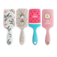 Women Hair Comb Paddle Hair Brush/Bird Hamster Pattern for Girls Hair Styling Antistatic for Straight Curly Hair Anti-Tangle 1