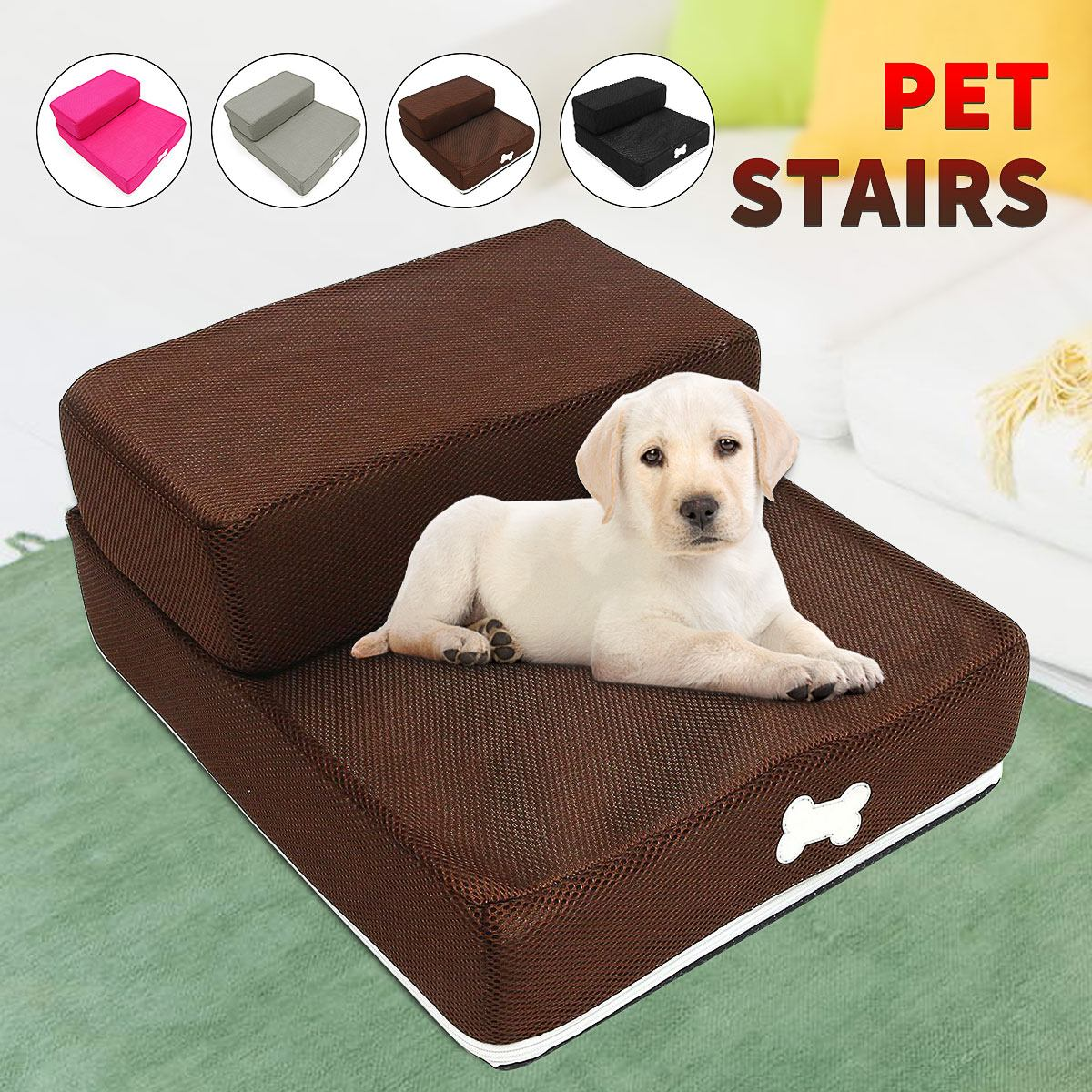 Pet Dog Jump Stairs Foldable Mesh Dog Ramp 2 Steps Ladder for Small Dogs Puppy Cat Bed Cushion Mat Mattress Breathable Mesh|Houses, Kennels & Pens|   - AliExpress