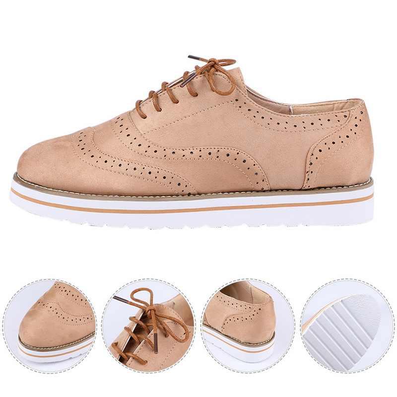 CYSINCOS Non-SLIP รองเท้าผ้าใบหนังผู้หญิงแพลตฟอร์มรองเท้าผู้หญิงสบายๆรองเท้าหนังรองเท้า CUT-Outs PLUS ขนาด 35-43