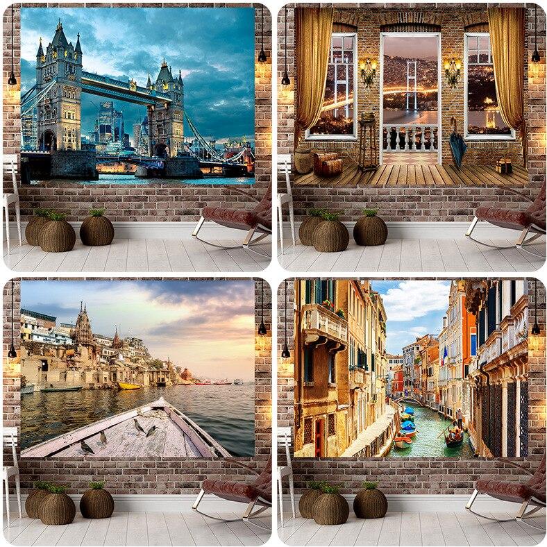 Jayi здание пейзаж Искусство природные виды фон настенная печать гобелен настенные подвесные украшения 94GT|Гобелен|   | АлиЭкспресс