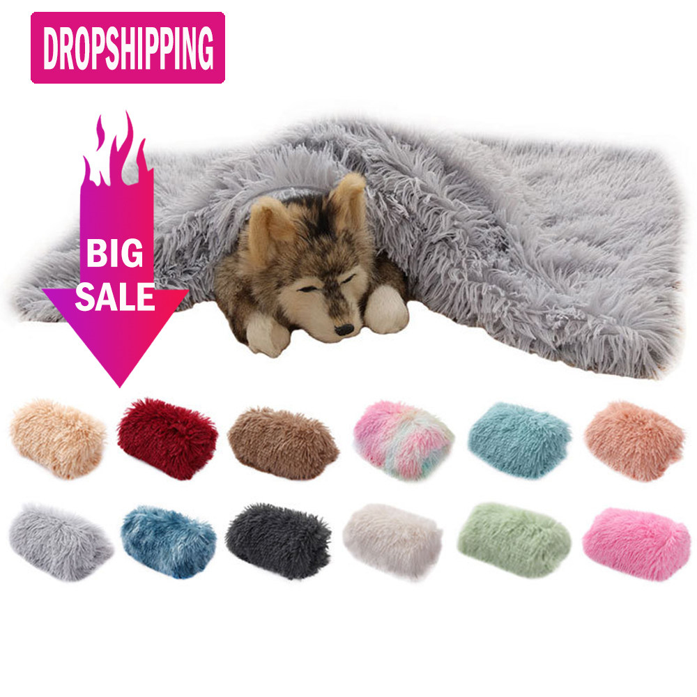 Fluffy Long Plush Pet Blankets Dog Cat Bed Mats Deep Sleeping Soft Thin Covers for Summer Winter Bed Use Blankets Cat Mattress