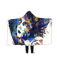 Simanfei Hooded Blanket Terrorist Skull Print Double Thick Lazy Beach Soft Woolen Throw Wearable For Sofa Bed