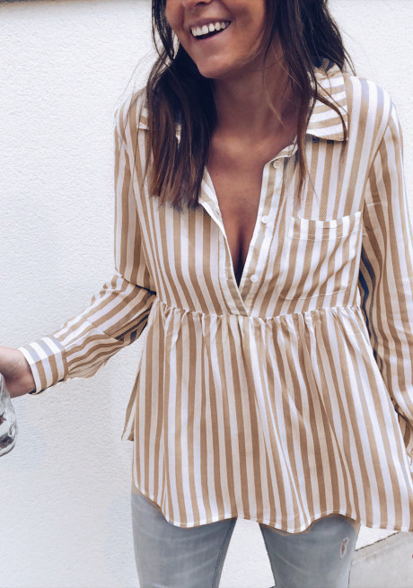 women blouse fashion 2020  female ladies clothing womens striped printed long sleeve autumn top shirt top 90s