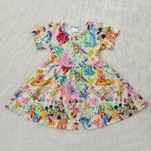 Children Girl Dress Summer Child Girls Clothing Twirl Short Sleeve Cartoon