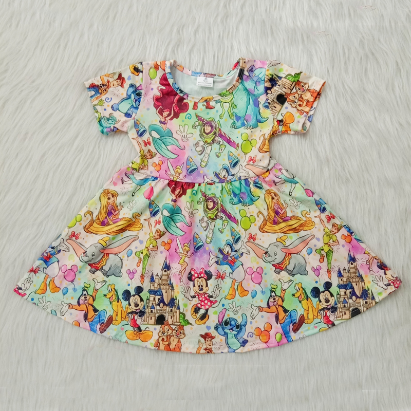 Crianças menina vestido de verão criança meninas roupas twirl manga curta dos desenhos animados crianças vestidos para roupas de bebê meninas vestidos