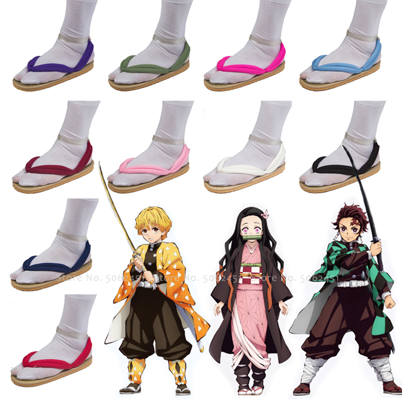 Anime Cosplay Geta Clogs Demon Slayer Kimetsu No Yaiba Shoes Kamado Tanjirou Kamado Nezuko Agatsuma Zenitsu Flip Flops Sandals