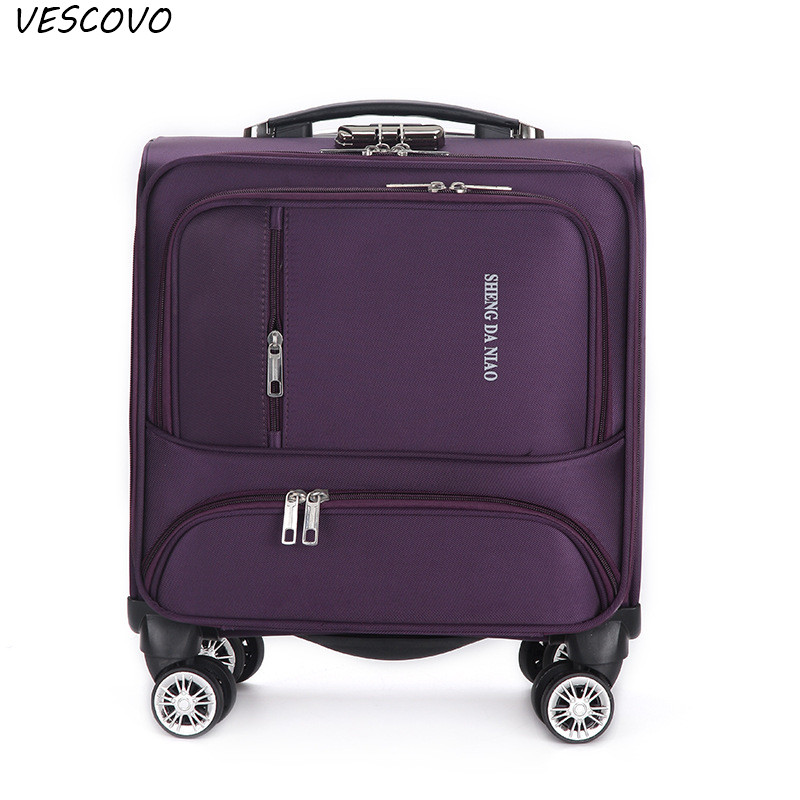 VESCOVO 18Inch Waterproof Oxford Cloth Carry Ons Trolley Travel Suitcase  Spinner On Wheels Business Boarding Case