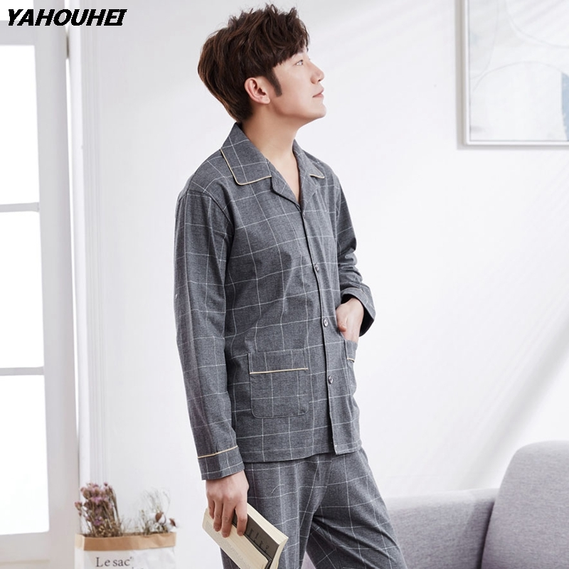 High Quality 100% Cotton Pajama Set For Men 2018 Autumn Winter Casual Plaid Long Sleeve Pyjama Male Lounge Homewear Home Clothes