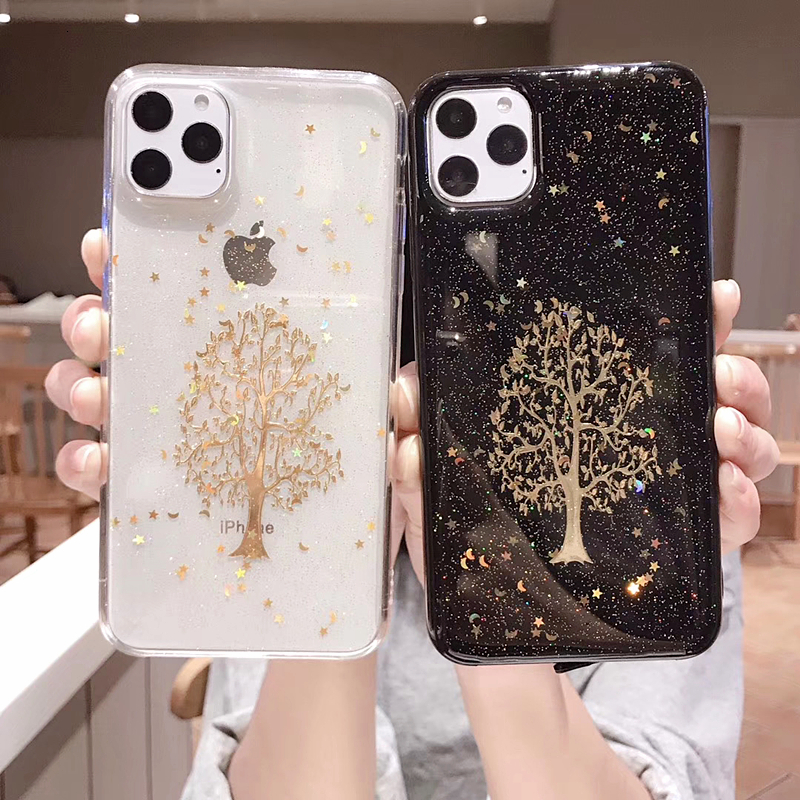 Gold Silver Propitious Tree Bling Phone Case For iPhone 11 Pro Max 8 7 6 Plus Soft Silicone X XS Max XR Star Glitter Clear Cover
