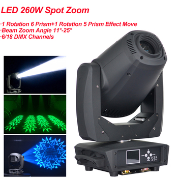 NEW Stage Light 260W LED Spot Zoom Moving Head Light  6/18 DMX Channels Beam Spot Wash 3IN1 LED Strong Light For Party Disco DJ new stage light 260w led spot zoom moving head light 6 18 dmx channels beam spot wash 3in1 led strong light for party disco dj