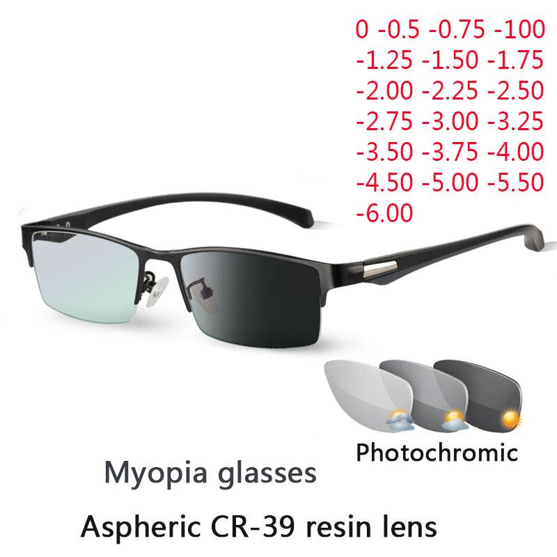 New Sun Photochromic Myopia Eyeglasses Optical Men student Finished Myopia Eyewear prescription Glasses Frame Half Rim  1.0  4.0