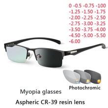 Nowe słońce fotochromowe okulary dla krótkowzrocznych optyczne mężczyźni student zakończone krótkowzroczność okulary okulary na receptę rama pół obręczy 1.0  4.0