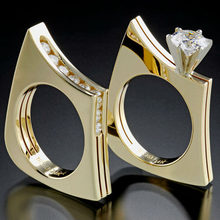 Hot Sale Light Gold White Cut Zircon Wedding Rings 2 Pcs/Set Female Crystal Geometric Finger Rings Jewelry Z3T244(China)