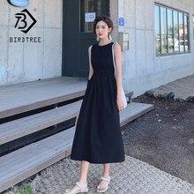 Elegant Vintage Black O Neck Sleeveless Dress Women Casual Mid Long Vacation Bea