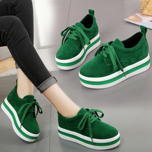Green Women Shoes Suede Sneakers New British Style Muffin Lace Up Womens Woman Trainers Zapatos De Mujer