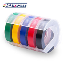 5 Colors 3D Embossing Tapes Printer Ribbon 9mm White on Black Red Blue Yellow Green Label