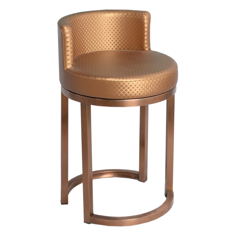 Round Jewelry Chair Titanium  Optical Shop Cashier Counter  Stainless Steel Bar  With Backrest Seat