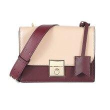купить 2018 genuine leather women shoulder bags fashion patchwork ladies' small square bag design brand women crossbody bags flap дешево