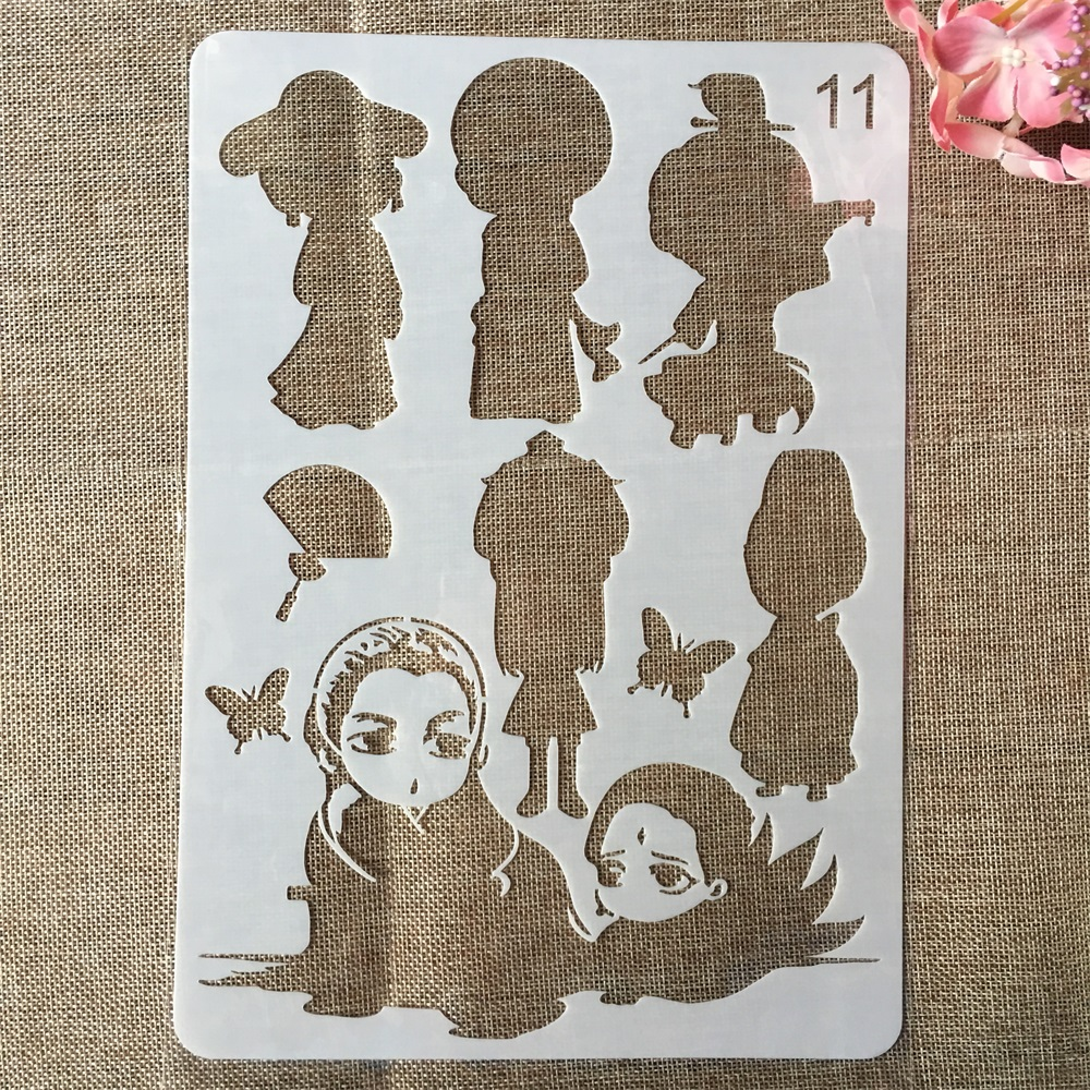 29cm A4 Cute Butterfly Girl DIY Craft Layering Stencils Painting Scrapbooking Stamping Embossing Album Paper Card Template