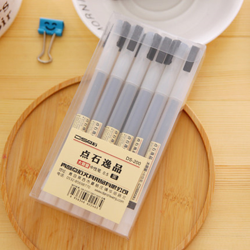 12Pcs MUJI Style 0.5mm Water-based Pen Gel Pen Black/Red/Blue Ink Pen Maker Pen School Office Supply Stationery For Student