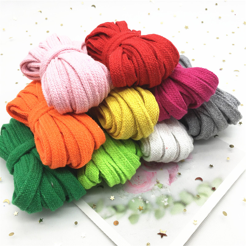 10mm Colorful Cotton Woven Rope Hollow Flat Twisted Cord Sportswear Belt Craft DIY Sewing Sash Rope Shoes Hat Decoration 5yards